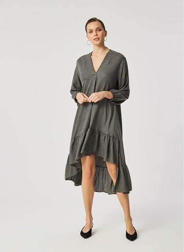 Monamoda Eteği Volanlı Elbise Antrasit